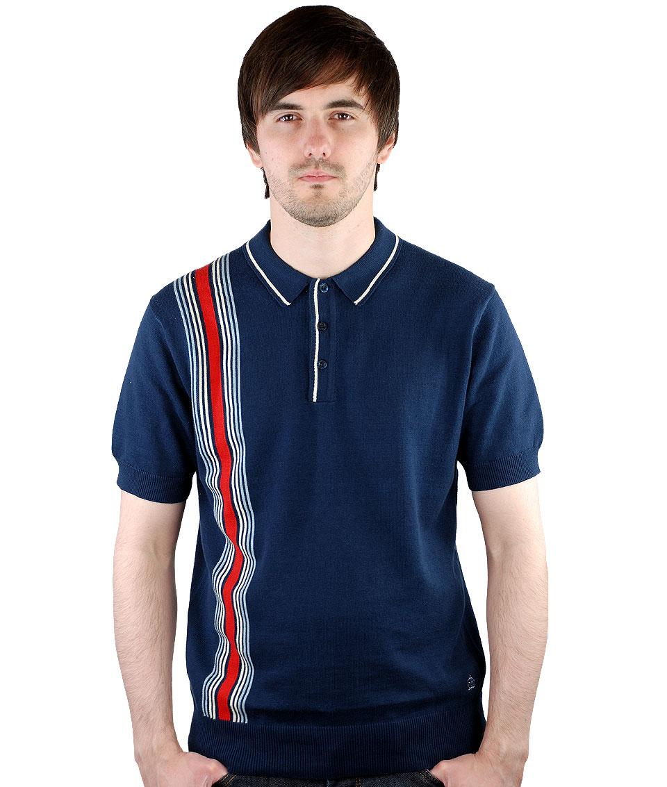 merc navy corbin knit polo t shirt modfellas