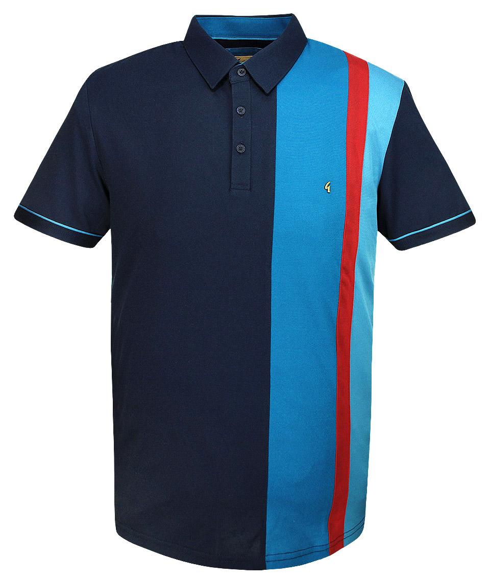 Gabicci vintage navy stripe panel polo t shirt modfellas for Polo or t shirt