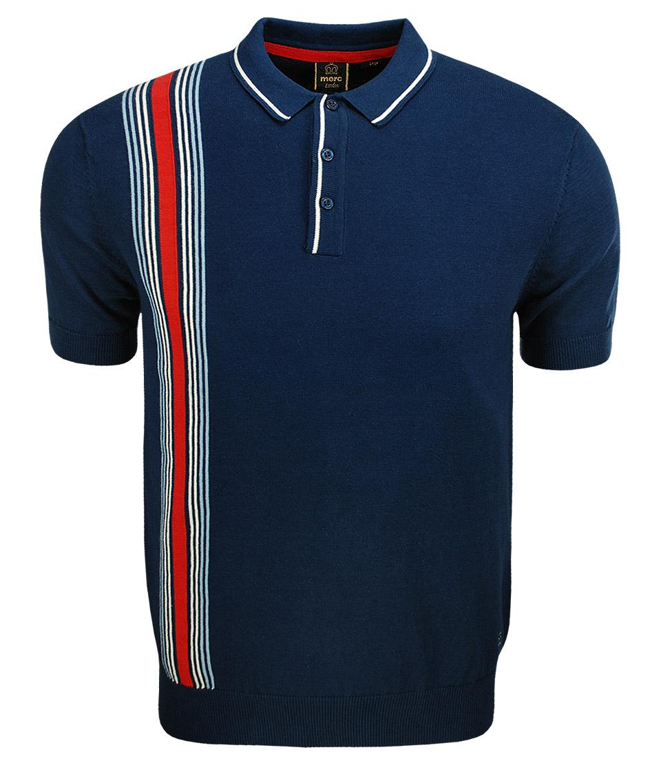 Merc navy corbin knit polo t shirt modfellas mens mod for Polo or t shirt