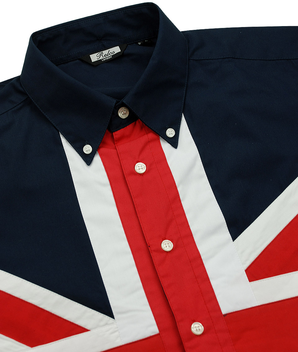 Relco london navy patriotic union jack flag shirt for Union made polo shirts
