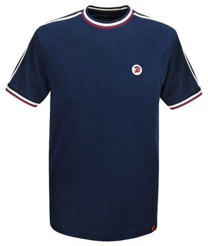 Trojan Records Navy Twin Stripe Plain T-Shirt