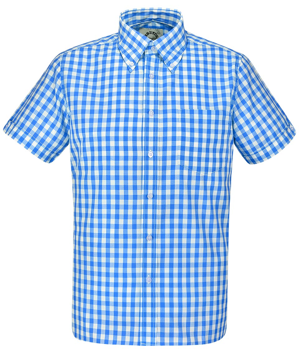 Brutus sky blue large gingham shirt modfellas mens mod for Mens blue gingham shirt