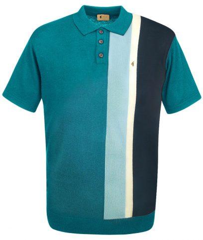 Gabicci Vintage Deep Lake Stripe Polo T-Shirt