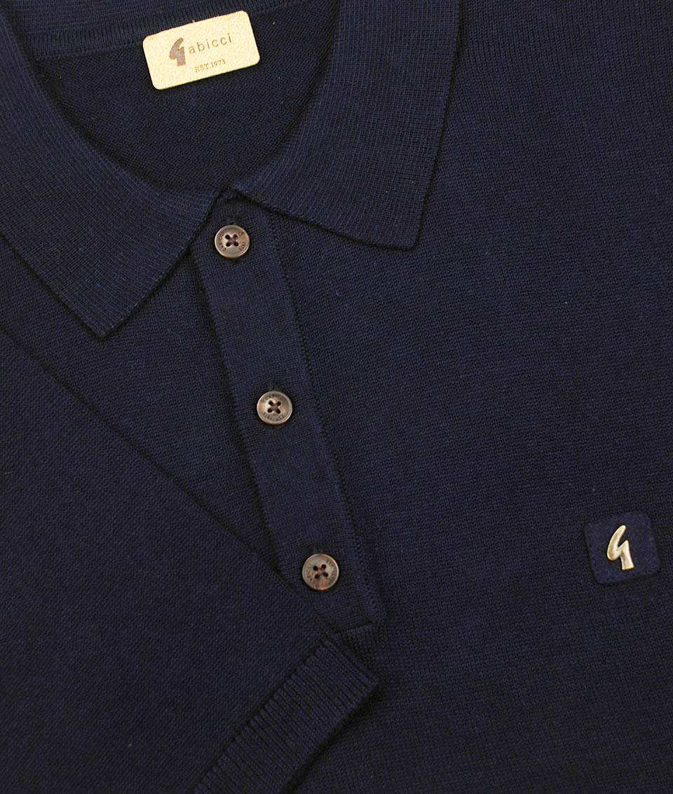 Gabicci Vintage Navy Knitted Plain Polo T-Shirt 77969646c45a