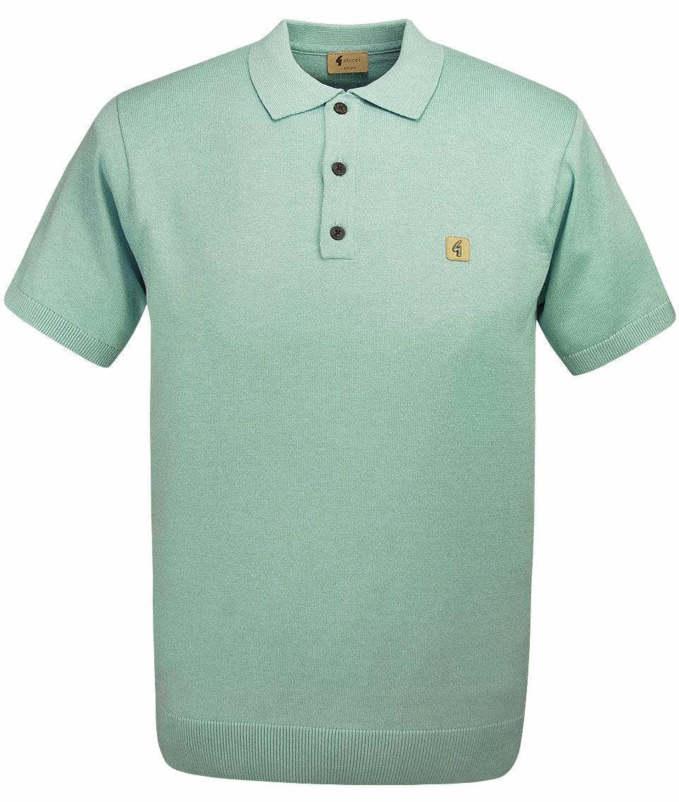Gabicci Vintage Spearmint Knitted Plain Polo T-Shirt dc34dce9452d