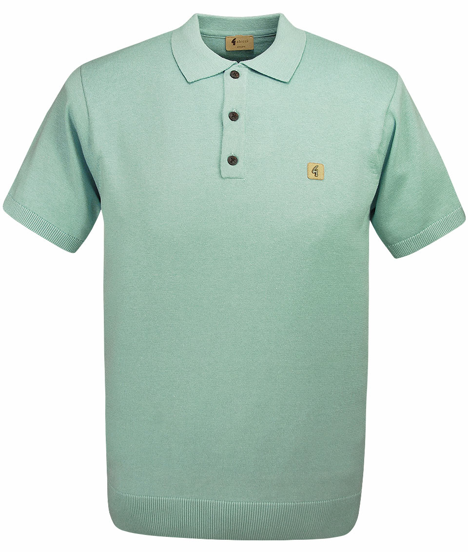 Gabicci vintage spearmint jackson knit polo t shirt for Knitted polo shirt mens