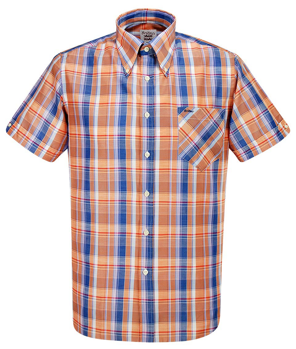 Britac Orange Blue Sl430 Check Shirt Modfellas Mens