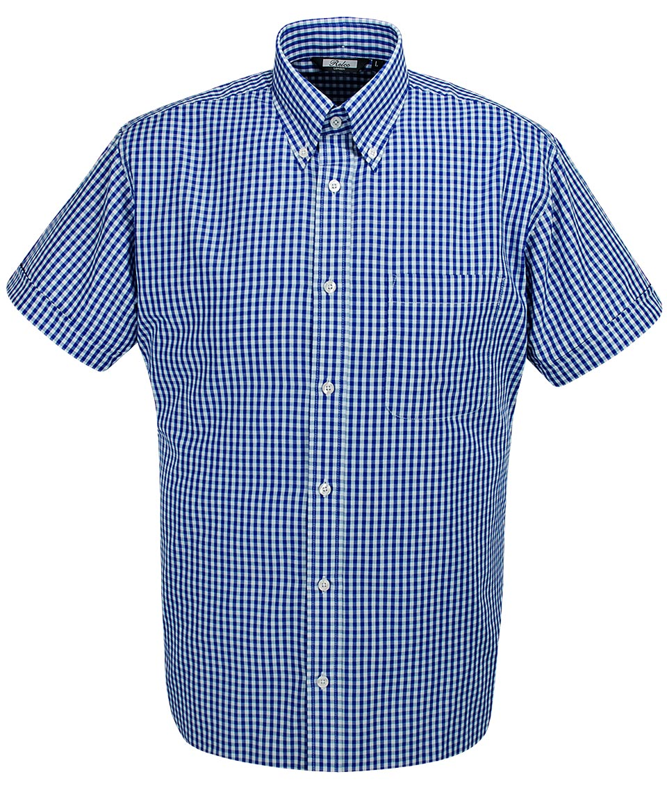 Relco london blue white gingham shirt modfellas mens for Mens blue gingham shirt