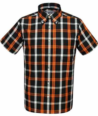 Brutus Black Orange Big Check Shirt