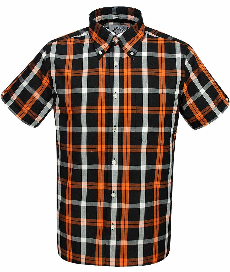 Brutus Black Orange Check Shirt Modfellas Mens Mod