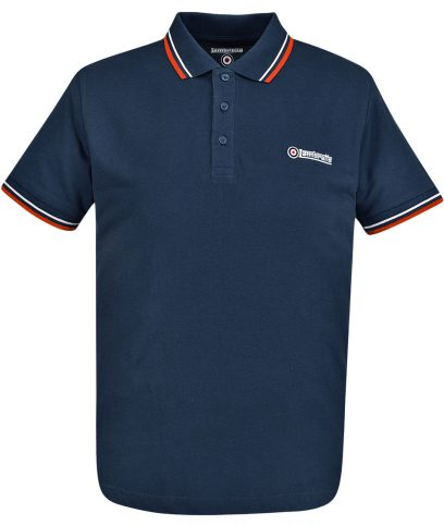 Lambretta Navy Tipped Polo T-Shirt