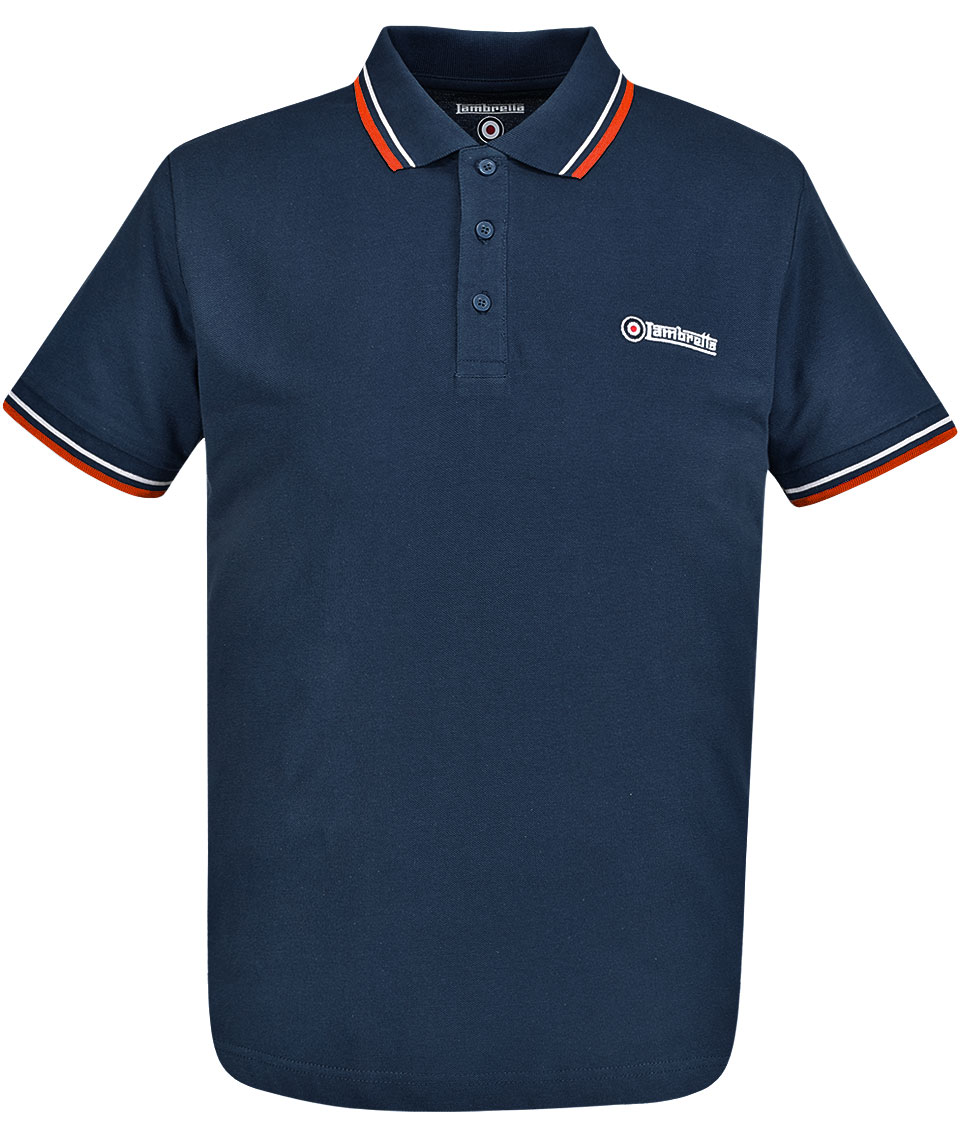 Lambretta navy red tipped polo t shirt modfellas for Mens navy polo shirt