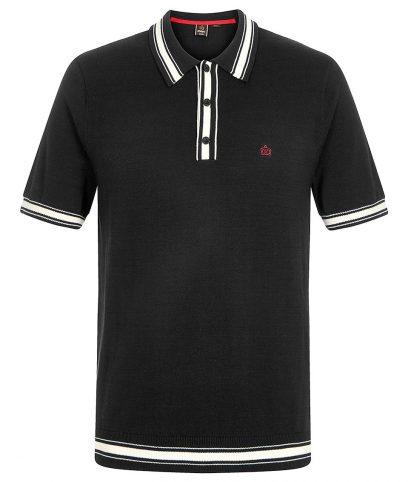 Merc Black Sadler Knitted Polo T-Shirt