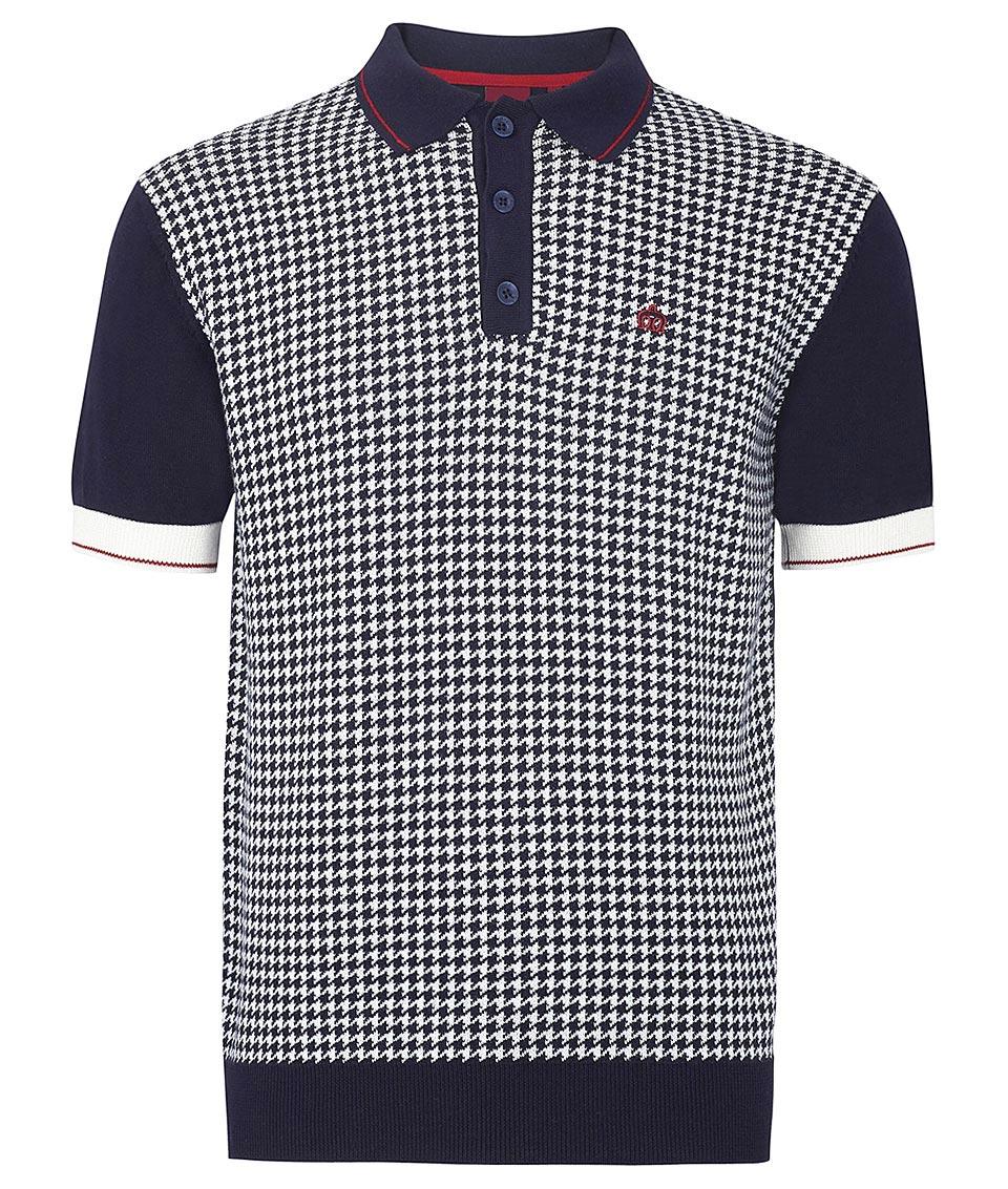 Merc navy kipling houndstooth polo t shirt modfellas for Union made polo shirts