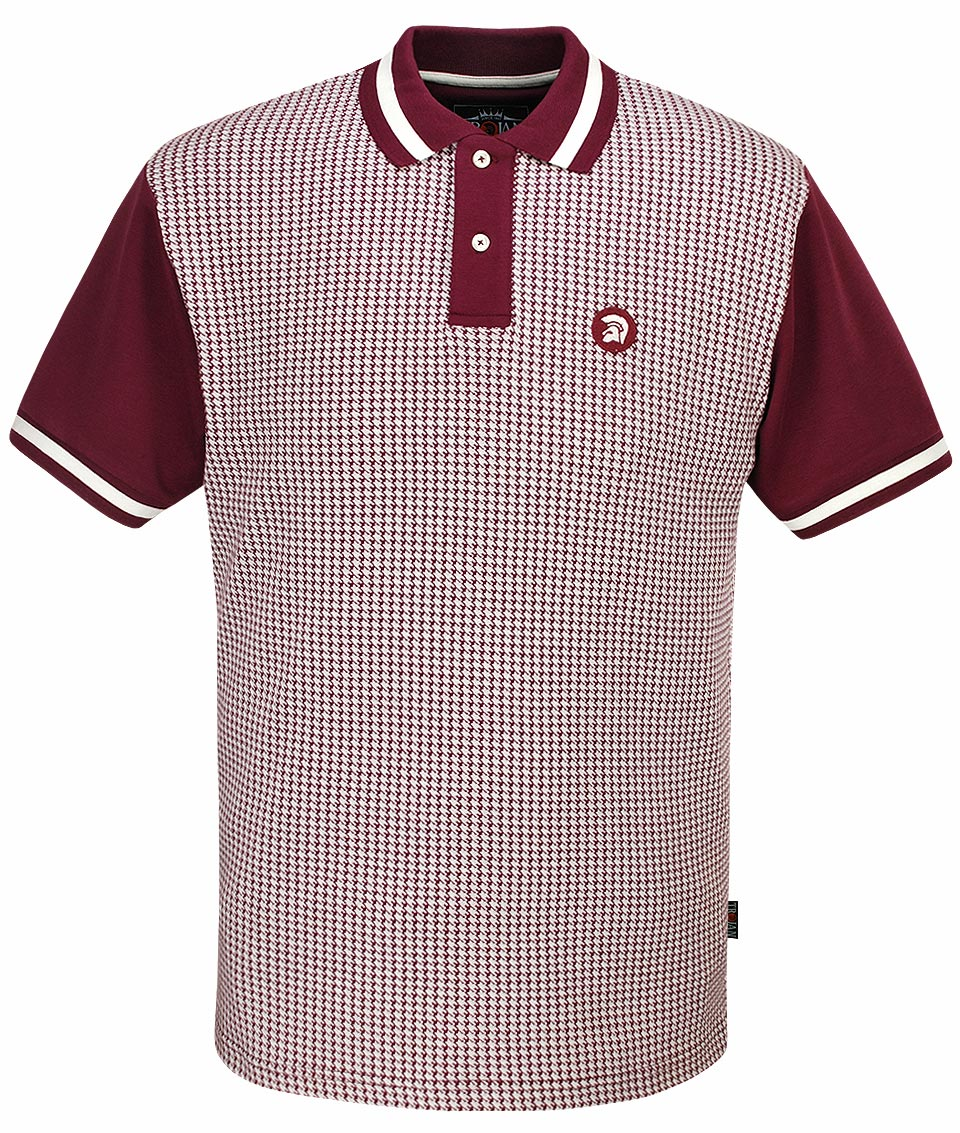 Trojan Records Maroon Houndstooth Polo Shirt Modfellas Mens Mod