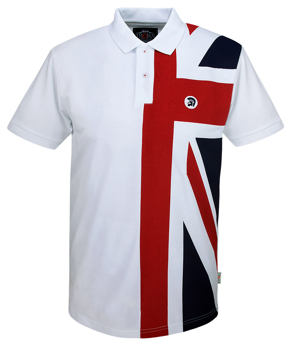 Trojan records white union jack front polo t shirt for Union made polo shirts