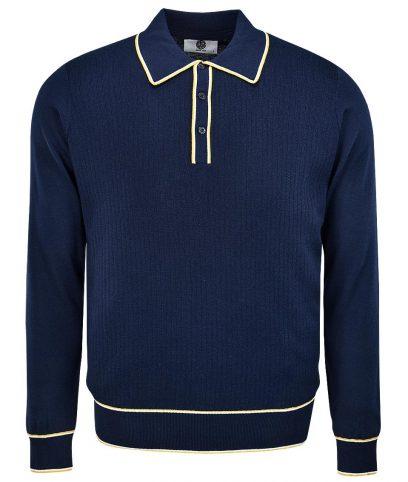 Art Gallery Navy Isley LS Polo Shirt