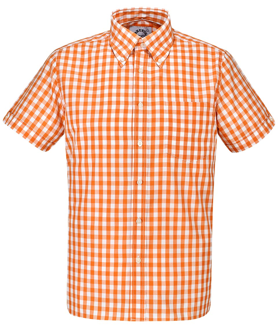Brutus Orange Large Gingham Shirt Modfellas Mens Mod
