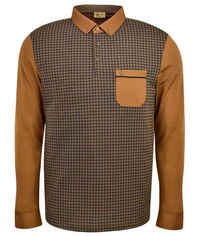 Gabicci Vintage Tan Honeycomb LS Polo T-Shirt
