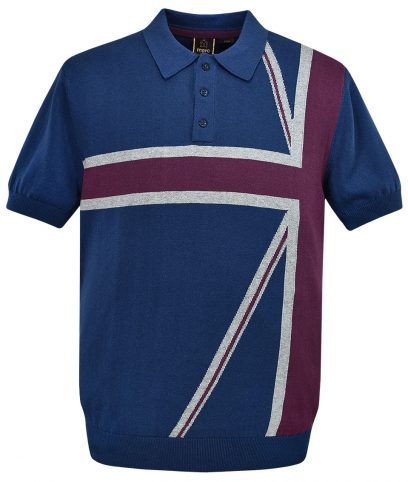 Merc Navy Castle Union Jack Knit Polo T-Shirt