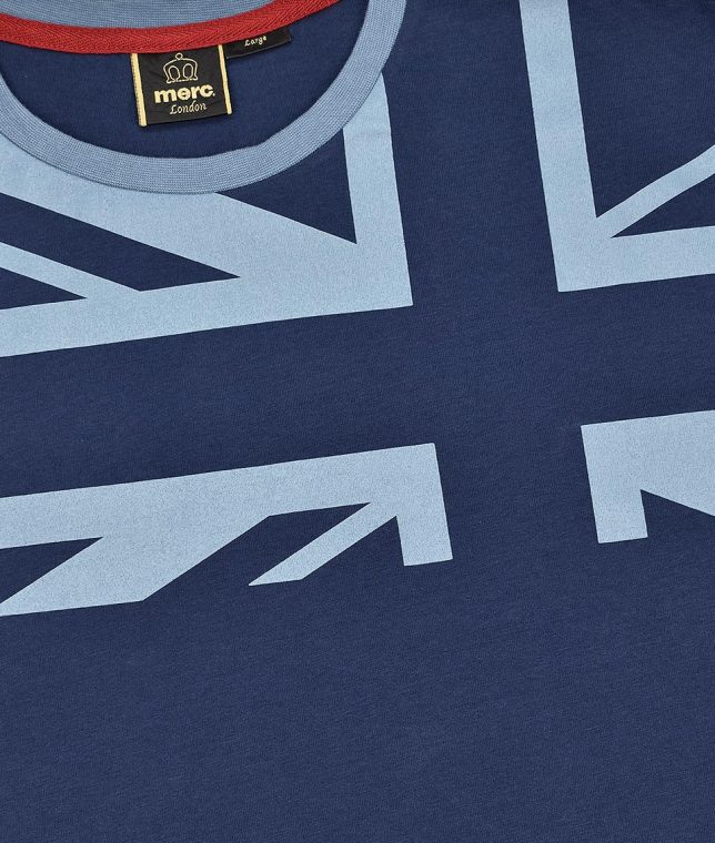 Merc Navy Crest Union Jack T-Shirt