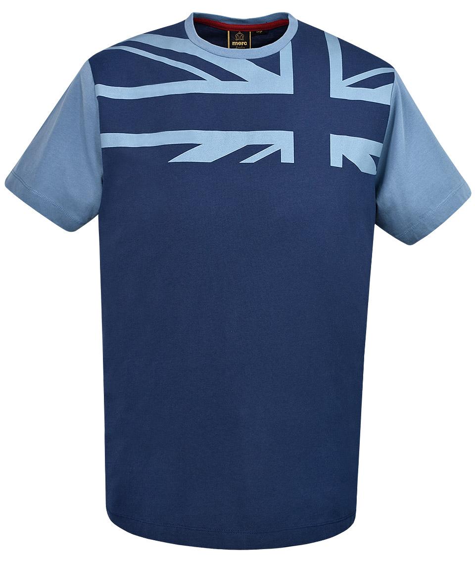 Merc navy crest union jack print t shirt modfellas for Union made polo shirts
