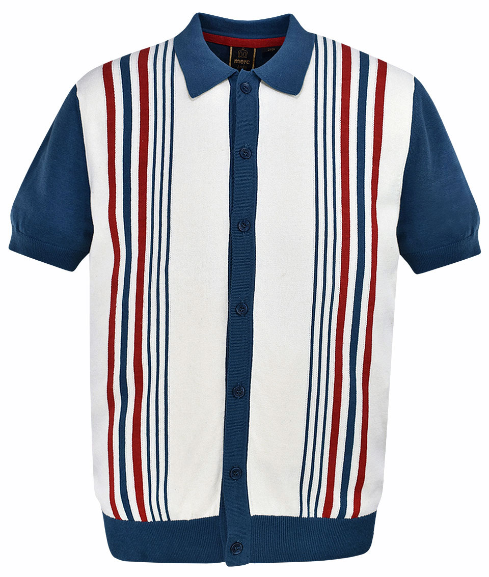 13193359b3908d Merc Dark Blue Nutley Stripe Knit Polo T-Shirt | Modfellas | Mens ...