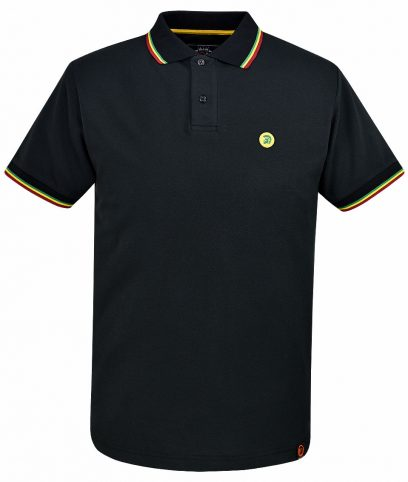 Trojan Records Black Jamaican Tipped Polo T-Shirt