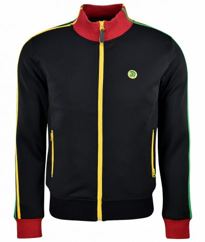 Trojan Records Black Jamaican Twin Stripe Track Top