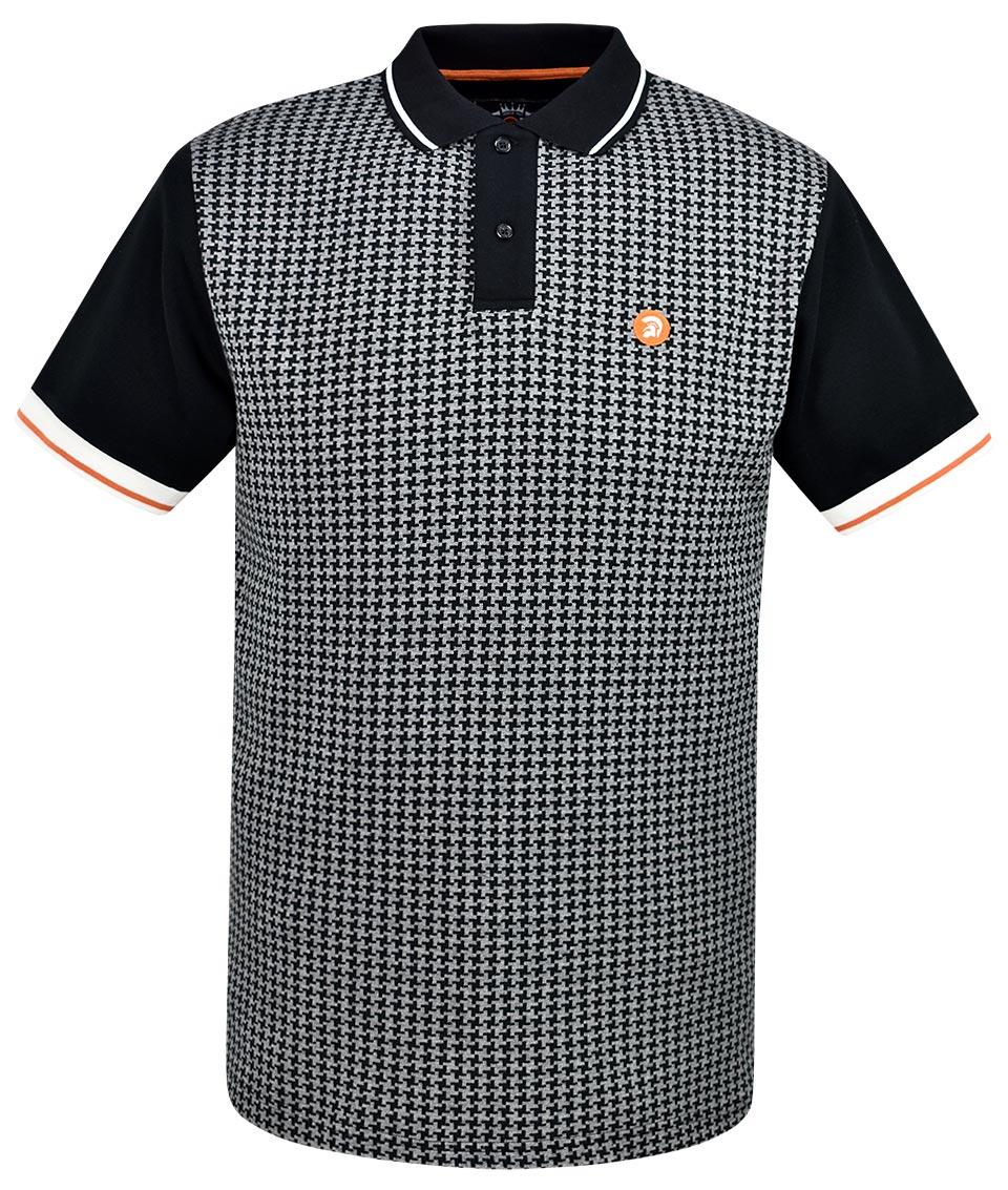 3eb0297a3a Trojan Records Black Houndstooth Polo Shirt