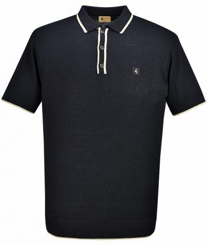 Gabicci Vintage Black Tipped Polo T-Shirt