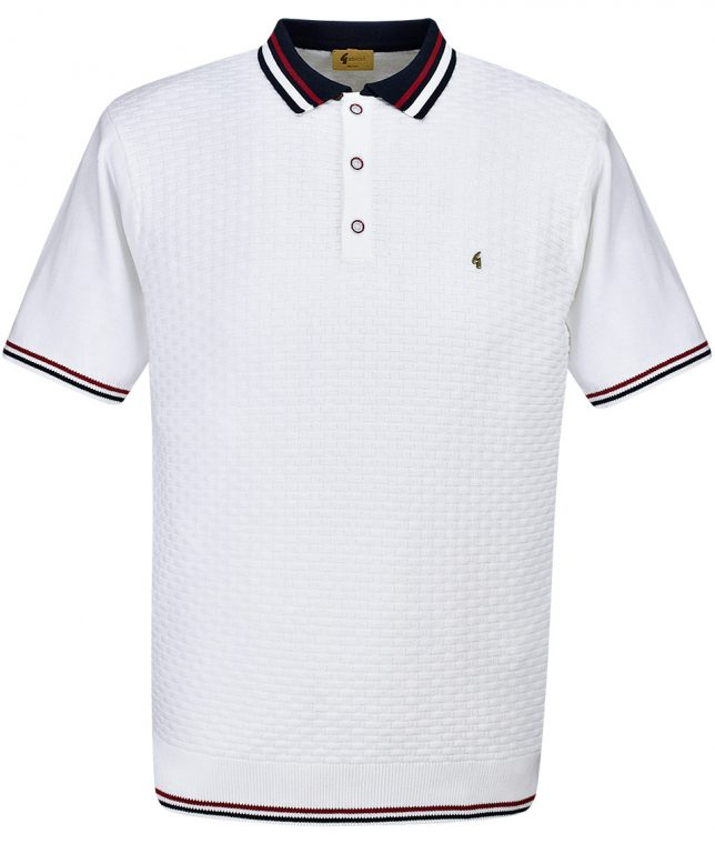Gabicci Vintage White Basketweave Polo T-Shirt