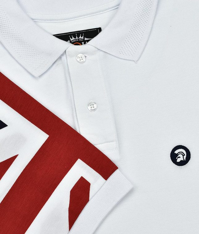 Trojan Records White Union Jack Sleeve Polo T-Shirt