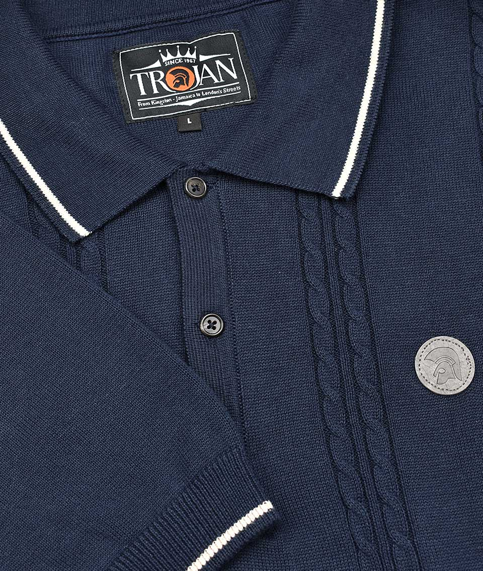 329031034fc Trojan Records Navy Cable Knit Polo Shirt - Modfellas Clothing