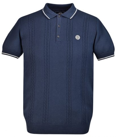 Trojan Records Navy Cable Knit Polo T-Shirt