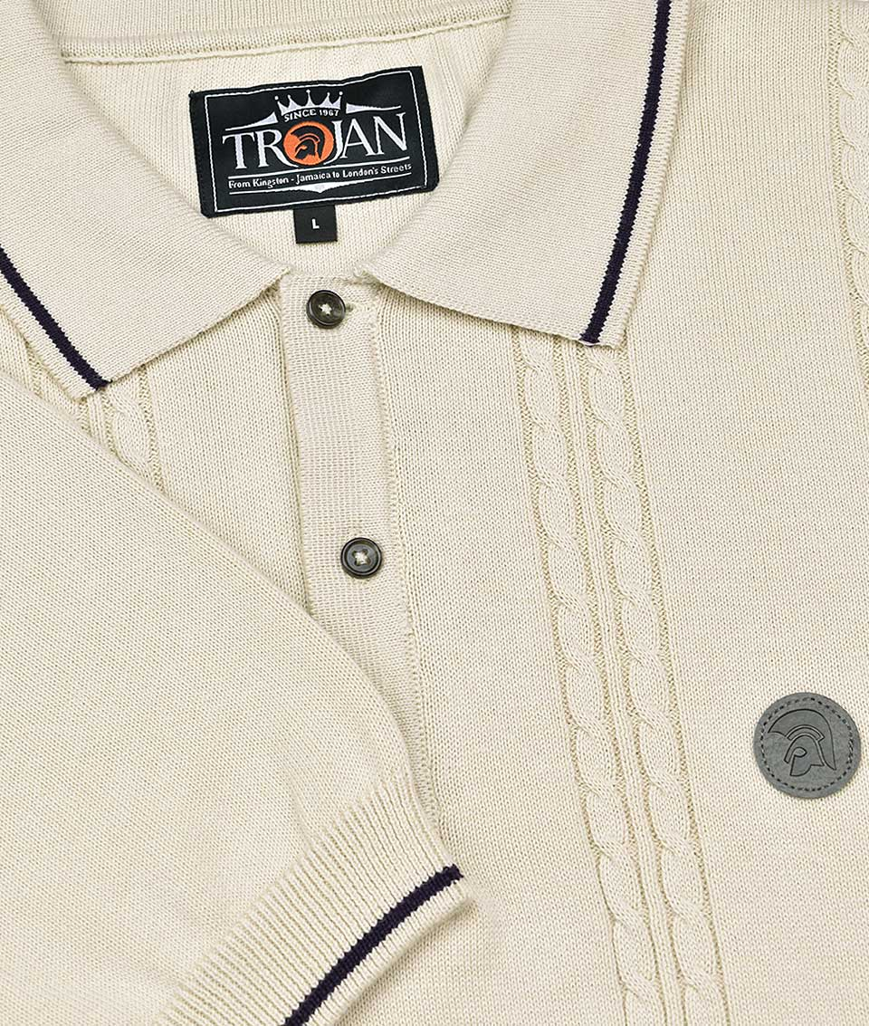 f2d088f1171 Trojan Records Stone Cable Knit Polo Shirt - Modfellas Clothing