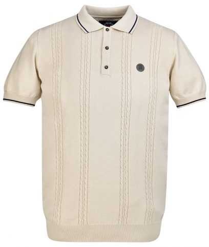 Trojan Records Stone Cable Knit Polo T-Shirt