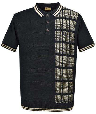 Gabicci Vintage Black Check Panel Polo T-Shirt