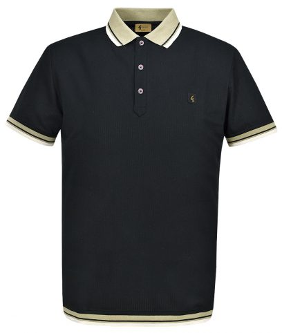 Gabicci Vintage Black Tipped Polo T-Shirt