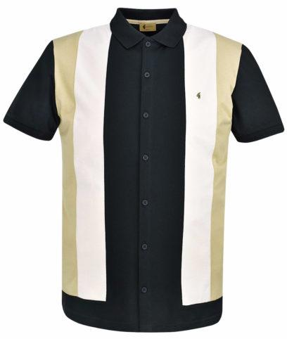 Gabicci Vintage Black Stripe Front Polo T-Shirt
