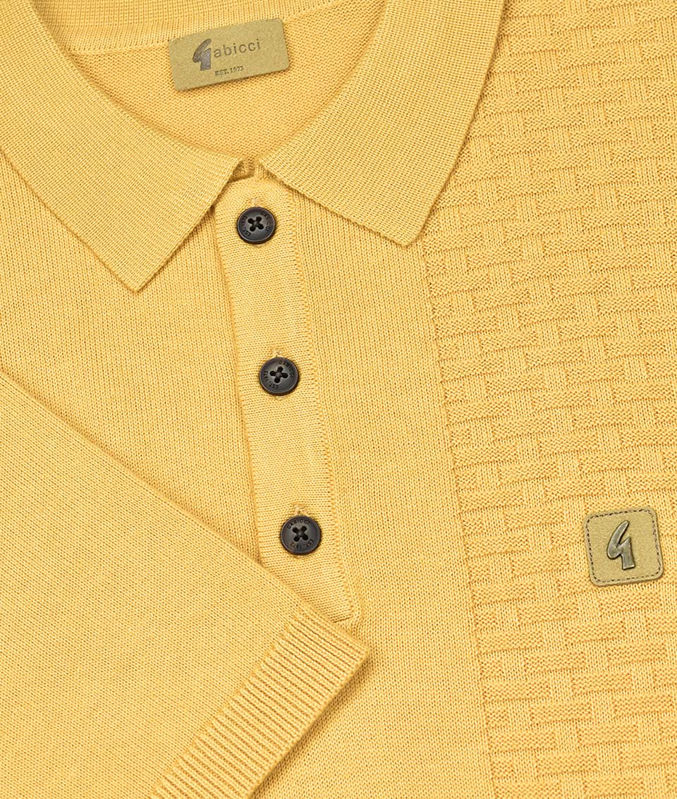 3732923f59a GABICCI VINTAGE LARGE BUTTER IMPACT PANEL POLO T-SHIRT BNWT L YELLOW ...