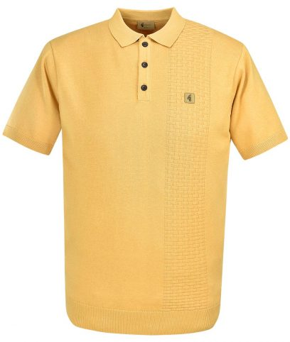 Gabicci Vintage Butter Knitted Basketweave Polo T-Shirt