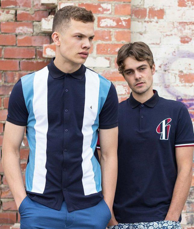 Gabicci Vintage Navy Stripe Front Polo T-Shirt