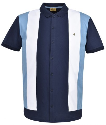 df6a1c6a Gabicci Vintage Navy Pulp Panel Polo Shirt
