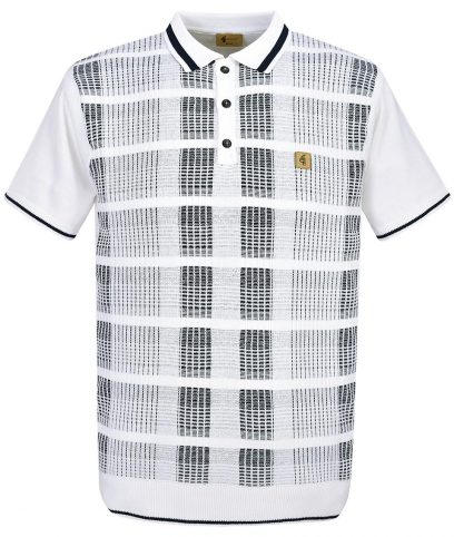 Gabicci Vintage White Check Polo T-Shirt