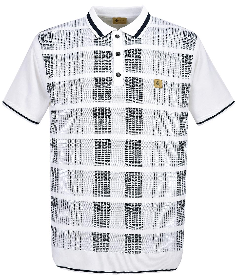f095216c6bf9 Gabicci Vintage White Revler Check Polo Shirt - Modfellas Clothing