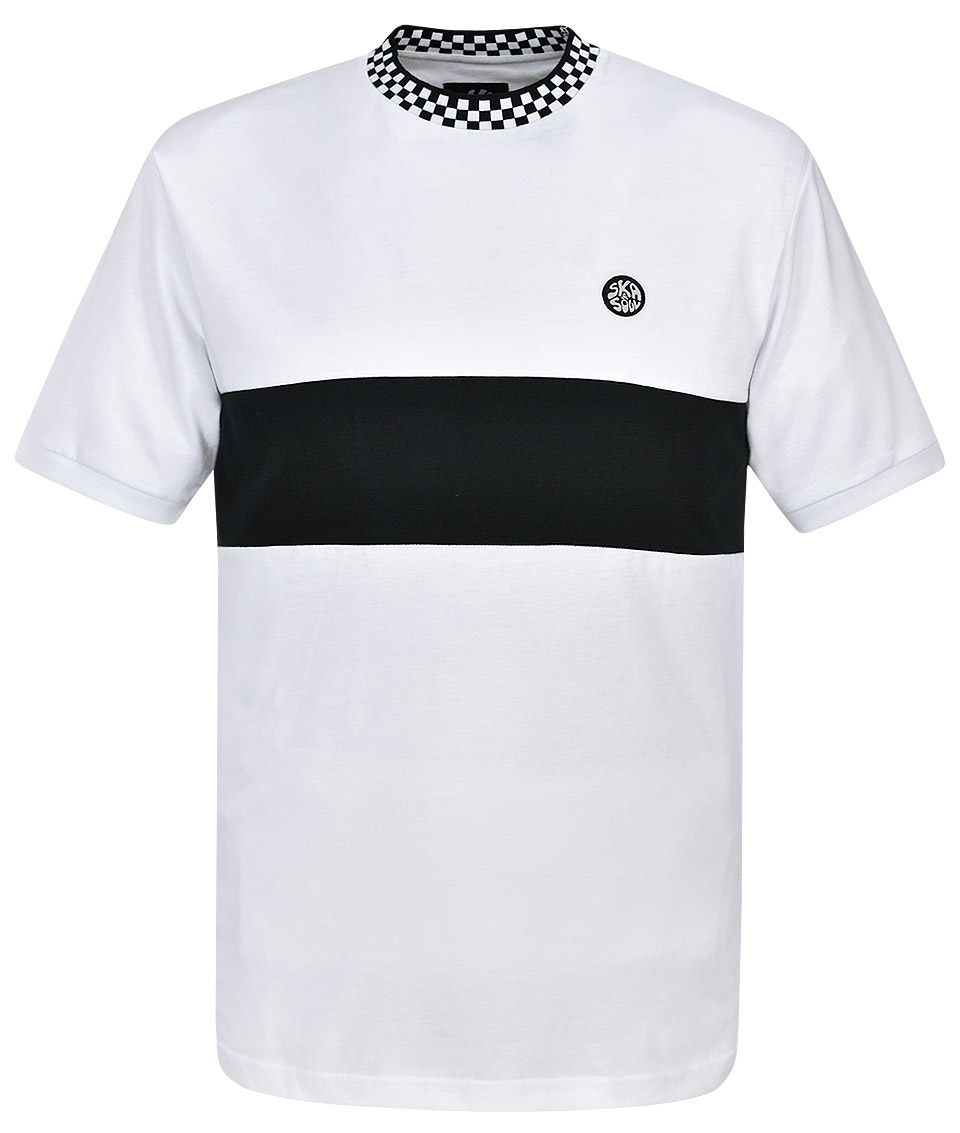e51463032 Ska & Soul White Chequerboard & Stripe T-Shirt - Modfellas Clothing