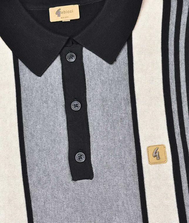 Gabicci Vintage Black Vertical Stripe LS Polo Shirt