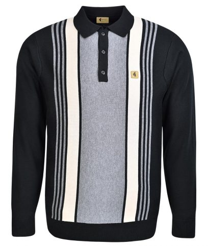 Gabicci Vintage Black Vertical Stripe LS Polo Shirt