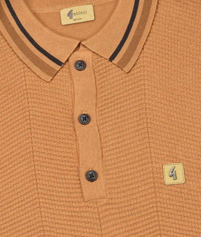 Gabicci Vintage Caramel Texture LS Polo Shirt